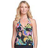 Women's Mazu Swim Floral Paisley Scalloped Halter Tankini Swim Top with Waist Minimizer
