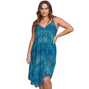 Plus Size Mazu Swim Printed Flowy Mesh Tank Dress Coverup