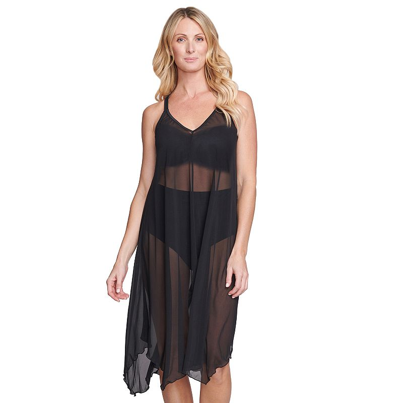 Women's Mazu Swim Flowy Mesh Tank Dress Coverup. Size: Small. Black