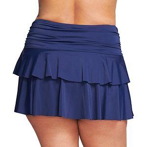 Plus Size Mazu Swim Ruffled Thigh-Minimizer Swim Skirt