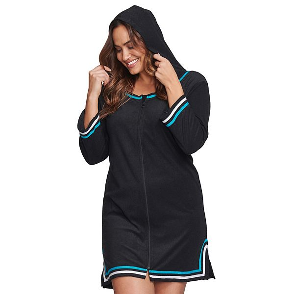 Plus Size Mazu Swim Black Hooded Terry Cloth Cover Up