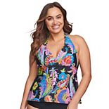 Plus Size Mazu Swim Floral Paisley Scalloped Halter Tankini Swim Top with Waist Minimizer
