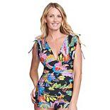 Women's Mazu Swim Paisley Ruched Tummy Control Swim Dress