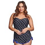 Plus Size Mazu Swim Shirred Striped One-Piece Swimsuit
