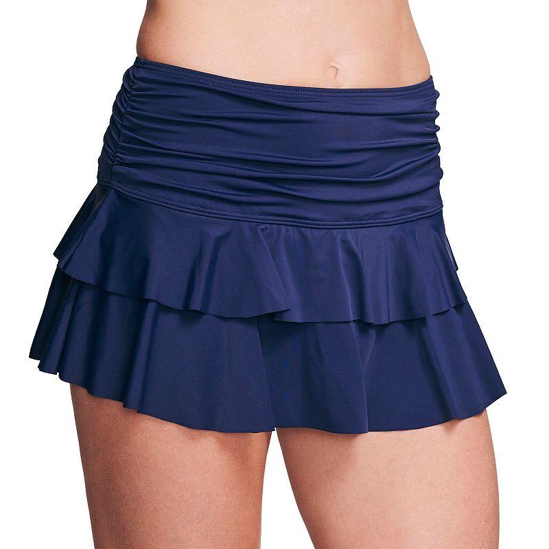 Women's Mazu Swim Double Ruffle Swim Skirt with Thigh Minimizer. Size: 16. Blue