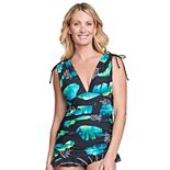 Women's Mazu Swim Leaf Ruched Tummy Control Swim Dress