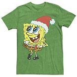 Men's Spongebob Squarepants Santa Hat Dreaming Of Christmas Tee