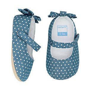 Baby Girl Carter's Chambray Bow Maryjane Crib Shoes