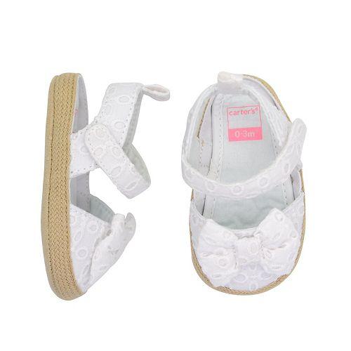 Baby Girl Carter's Eyelet Espadrille Sandal Crib Shoes