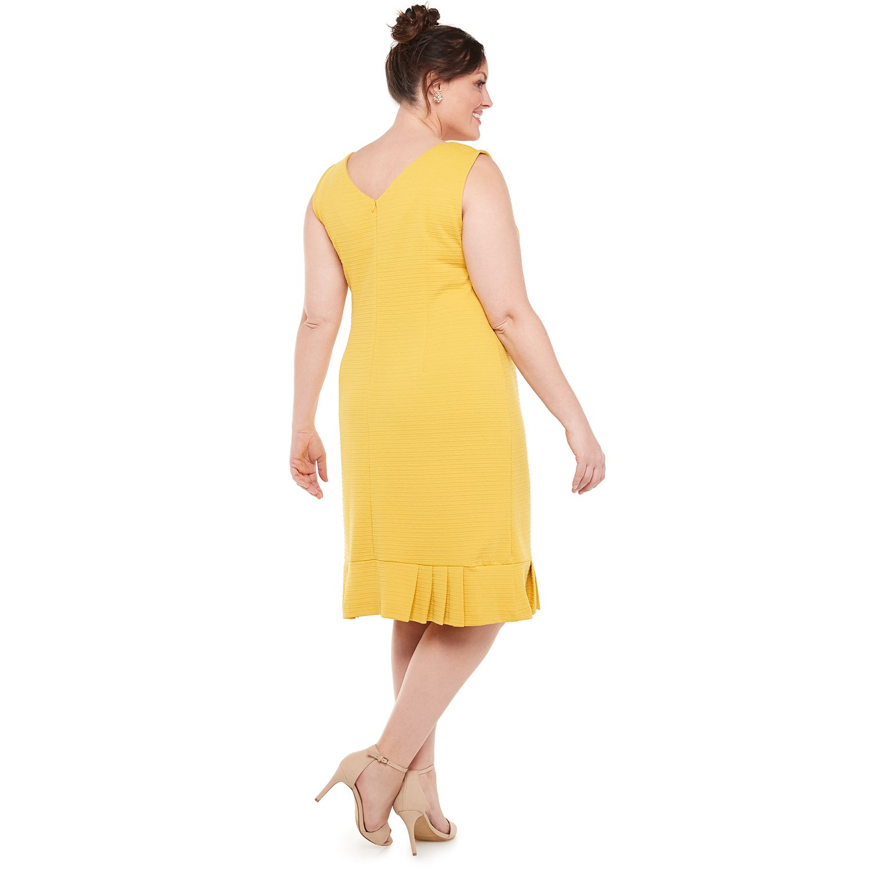 Plus Size Maya Brooke Textured Knit Envelope Jacket Dress with Pin