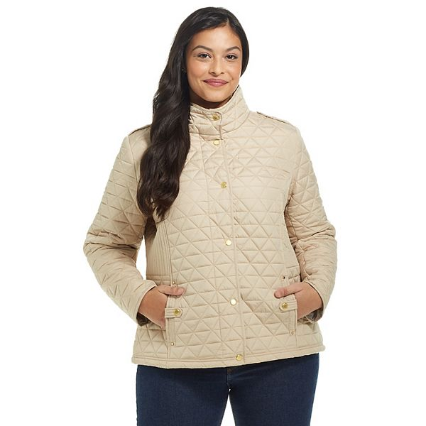 Plus Size Weathercast Mixed Quilted Jacket