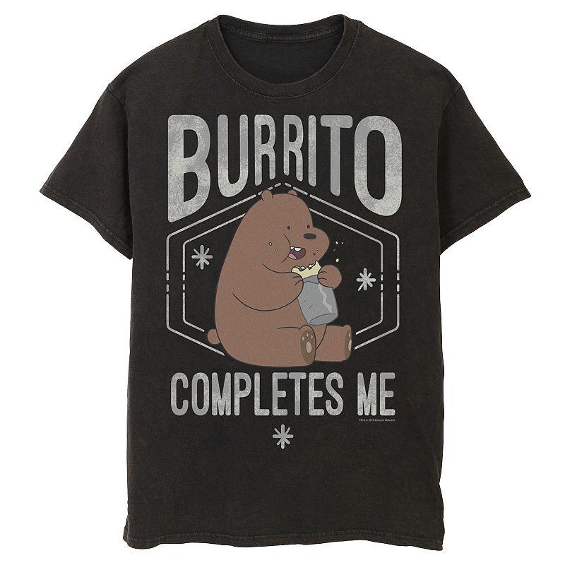 Men's Cartoon Network We Bare Bears Burrito Completes Me Portrait Graphic Tee, Size: Medium, Black