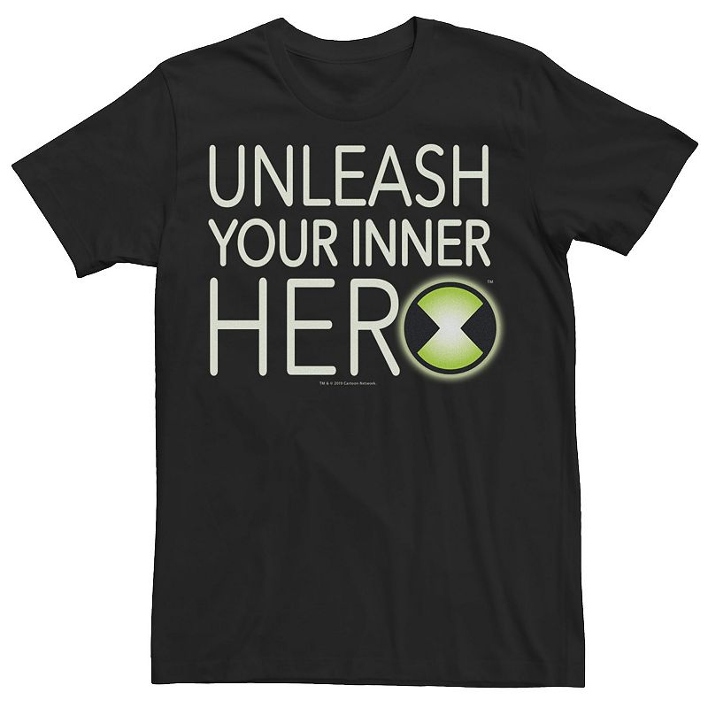 Men's Ben 10 Unleash Your Inner Her Logo Graphic Tee, Size: 3XL, Black
