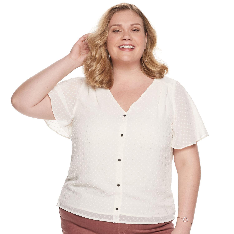 Plus Size EVRI™ Clip Dot Short Sleeve Button Down Top