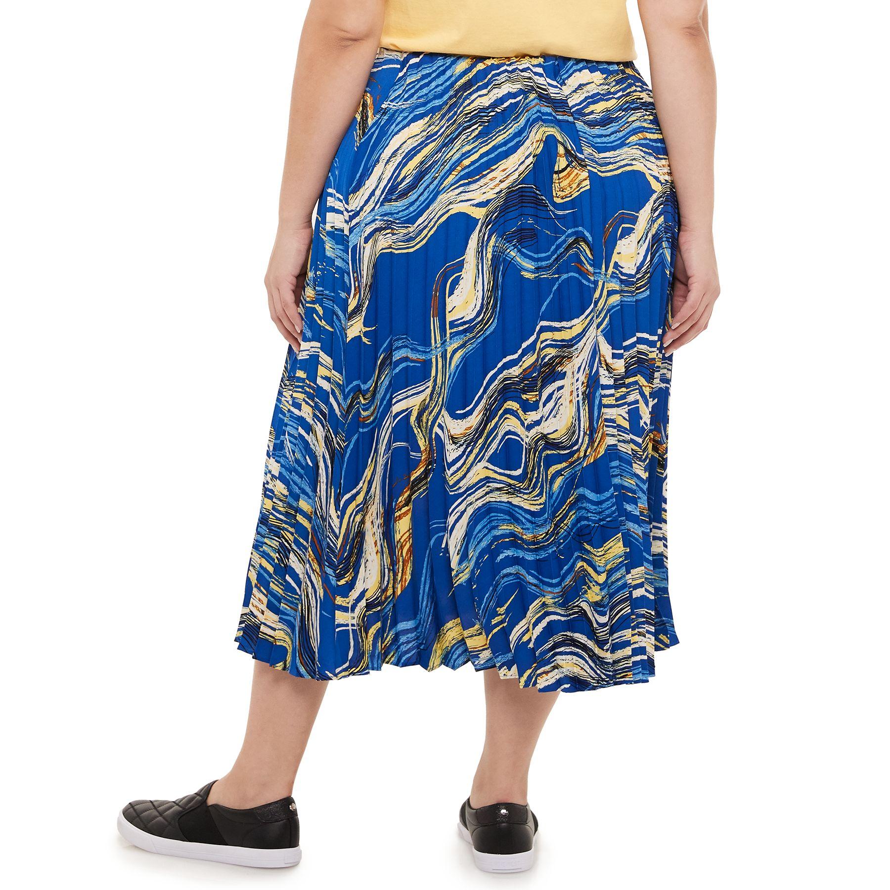 Plus Size Nine West Wave Pleated Flare Skirt