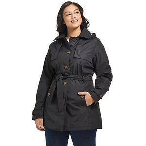 Plus Size Weathercast Hooded Windbreaker Jacket
