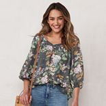 Women's LC Lauren Conrad Banded Neck Peasant Top