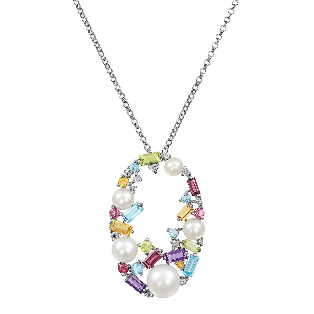 Sterling Silver Freshwater Cultured Pearl & Gemstone Oval Pendant Necklace
