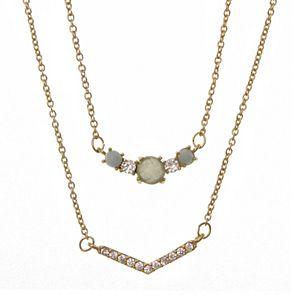 Rhode & Co. Double Strand Aventurine & Cubic Zirconia Necklace