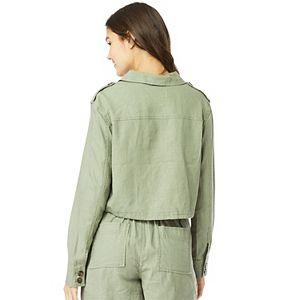 Juniors' WallFlower Insta Chill Cropped Utility Linen Jacket