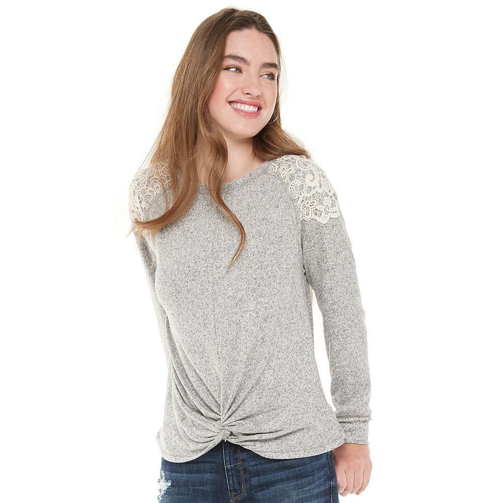 Juniors' Rewind Cozy Crocheted Shoulder Twist Front Top