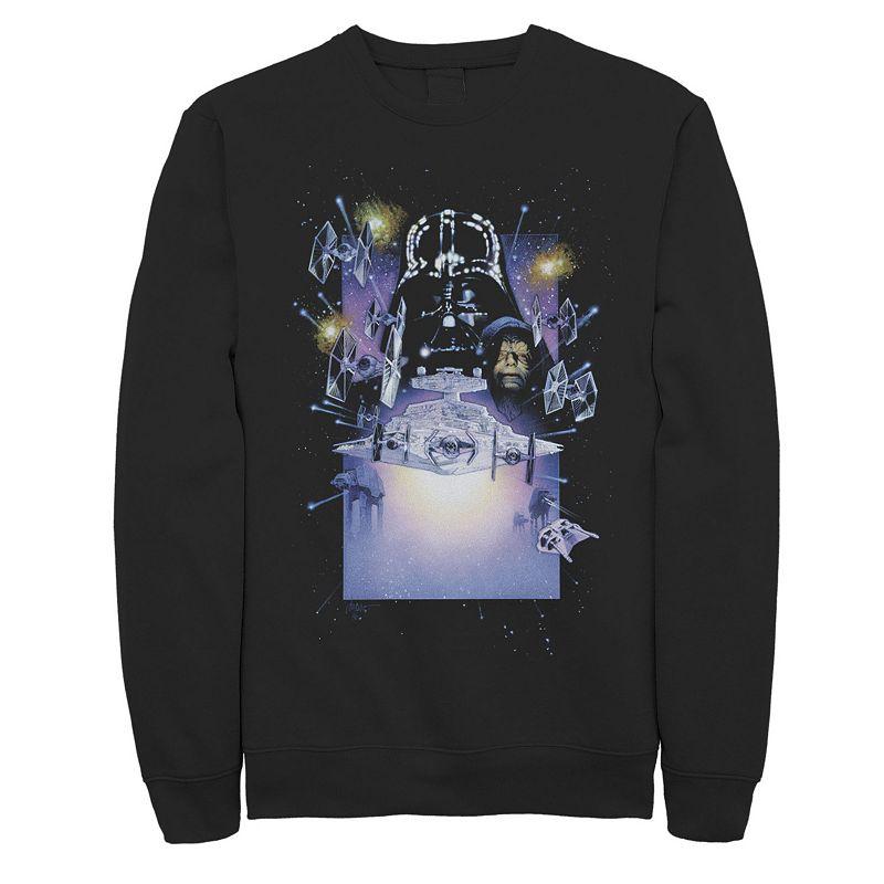 Men's Star Wars Darth Vader Emperor Palpatine Galaxy Poster Sweatshirt. Size: Small. Black