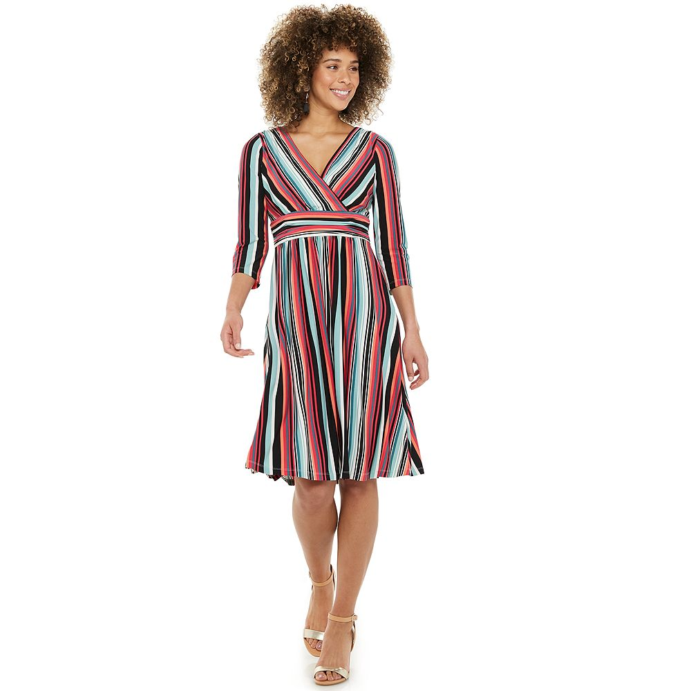 Petite Suite 7 Striped Faux-Wrap Midi Dress
