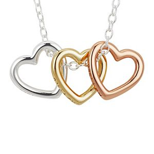 """LovethisLife® """"Sisters"""" Sterling Silver Tri-Tone Open Heart Necklace"""