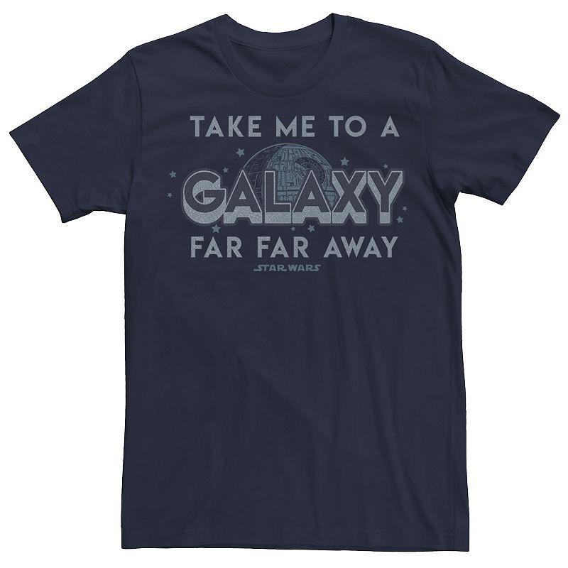 Men's Star Wars Take Me To A Galaxy Far Away Text Tee, Size: 3XL, Blue