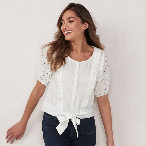 Women's LC Lauren Conrad Elbow-Sleeve Button-Front Top