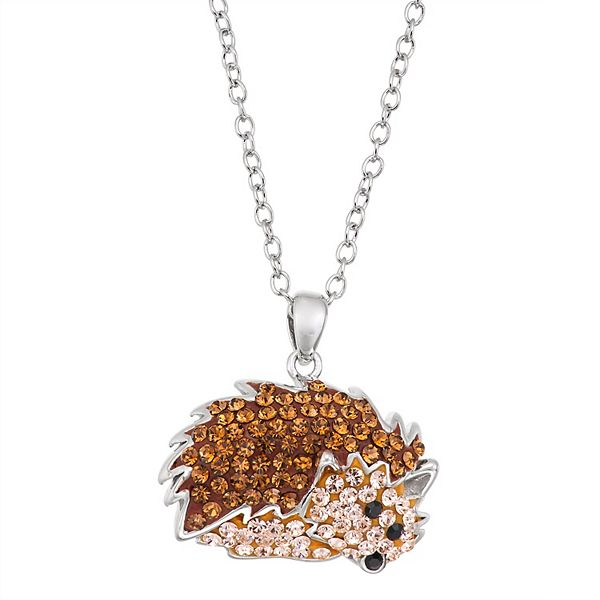 Crystal Hedgehog Pendant Necklace