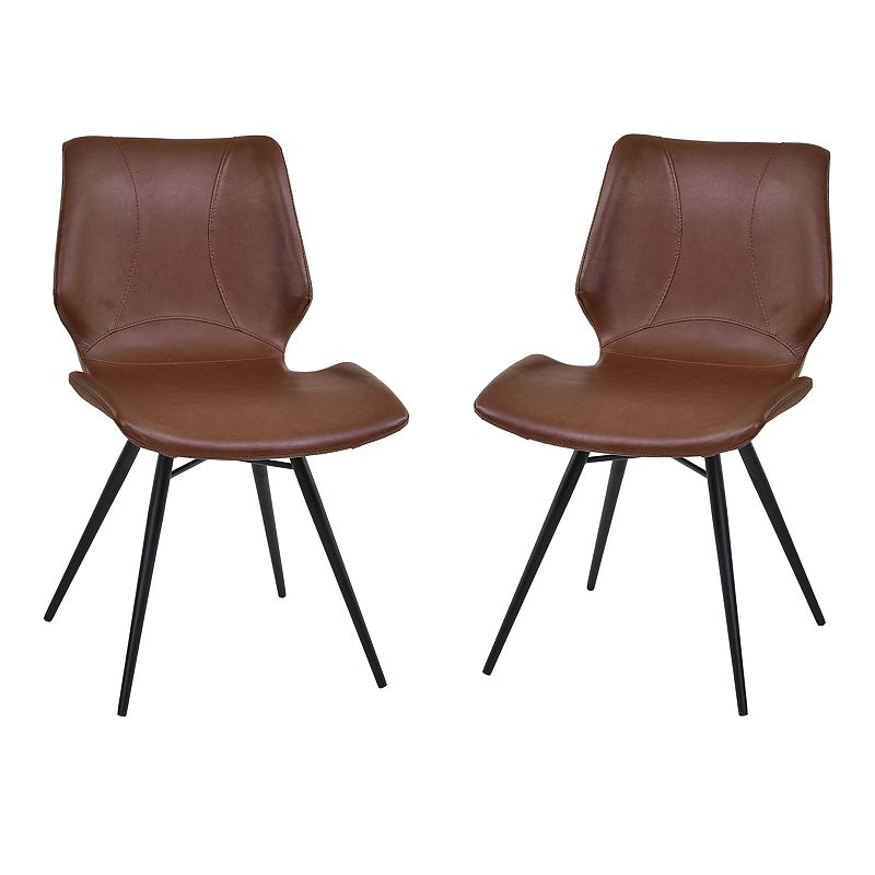 Armen Living Amanda Faux Leather Dining Chair 2-piece Set, Brown