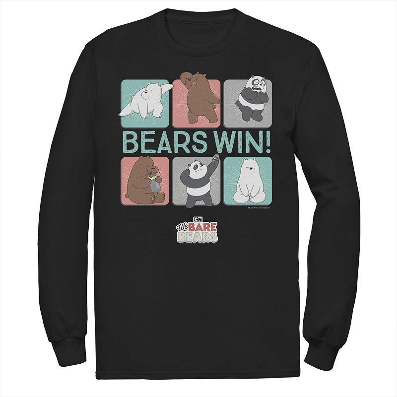 Men's We Bare Bears Bears Win Character Panels Tee, Size: Large, Black