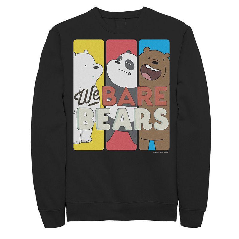 Men's We Bare Bears Character Panels Sweatshirt. Size: Small. Black