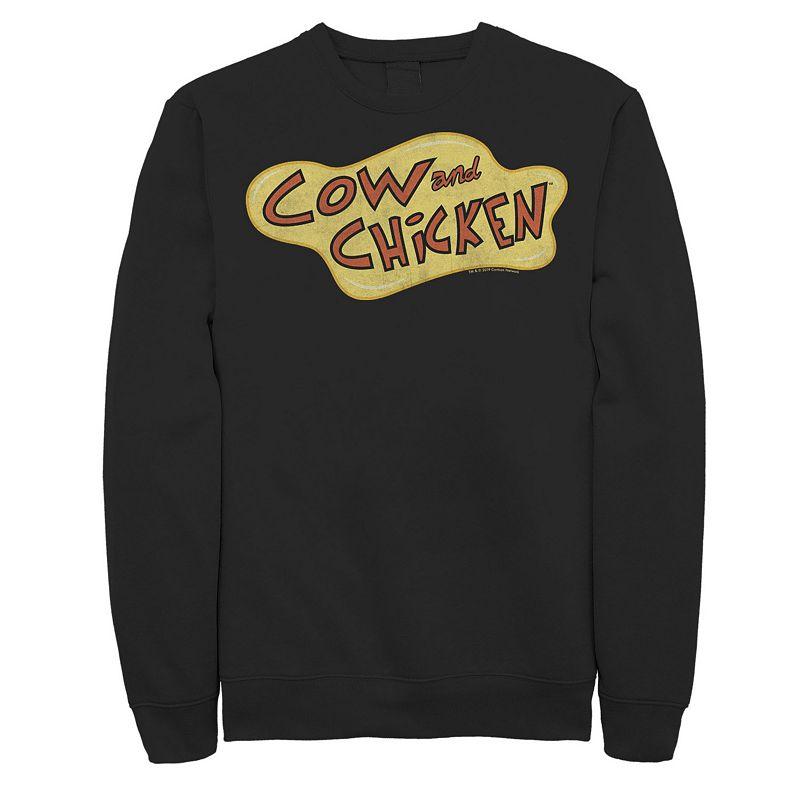 Men's Cartoon Network Cow & Chicken Logo Sweatshirt, Size: XL, Black
