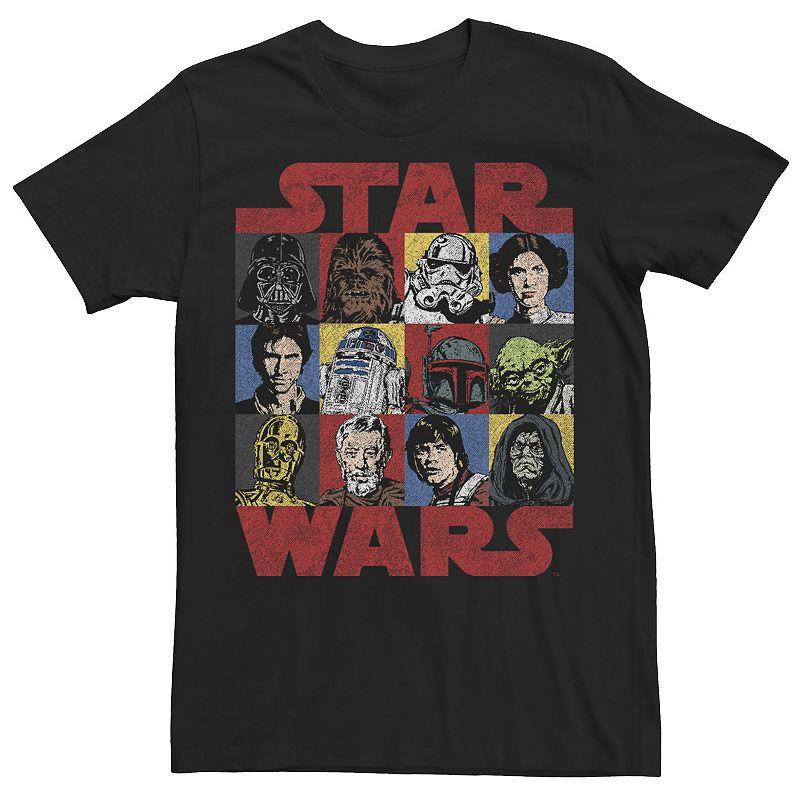 Men's Star Wars Heroes & Villains Headshot Box Up Tee, Size: XXL, Black