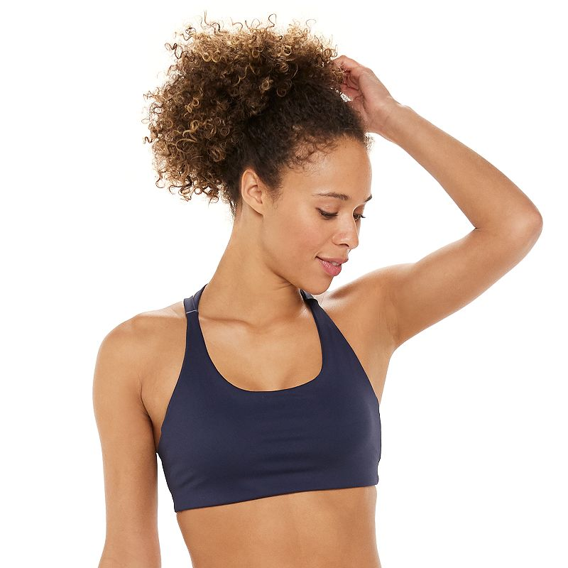 Montiel\'s mission is to create a line of clothing that could bridge the gap between activewear and fashion. Made in LA, for active women everywhere. Take on your next workout with confidence in this strappy-back sports bra from Montiel. Montiel\'s mission is to create a line of clothing that could bridge the gap between activewear and fashion. Made in LA, for active women everywhere. Take on your next workout with confidence in this strappy-back sports bra from Montiel. Watch the product video here. Scoopneck Strappy-back detail Removable bra pads for an extra boost FIT & SIZING Montiel Size Chart FABRIC & CARE Polyester, spandex Machine wash Made in the USA Size: Small. Color: Navy. Gender: female. Age Group: adult.