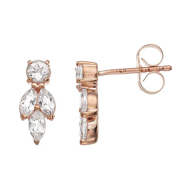 LC Lauren Conrad 10k Rose Gold Pink Morganite Earrings