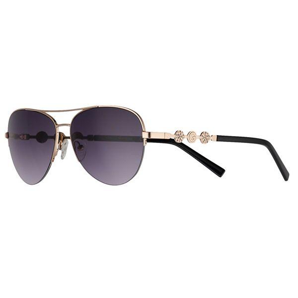 Women's GBG 59mm Semi-Rimless Aviator Sunglasses with Rhinestone Detail