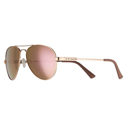 Women's G by Guess Rose Tone Frame Aviator Mirrored