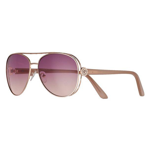 Women's GBG Rose Tone Hammered Frame Aviator Gradient Sunglasses