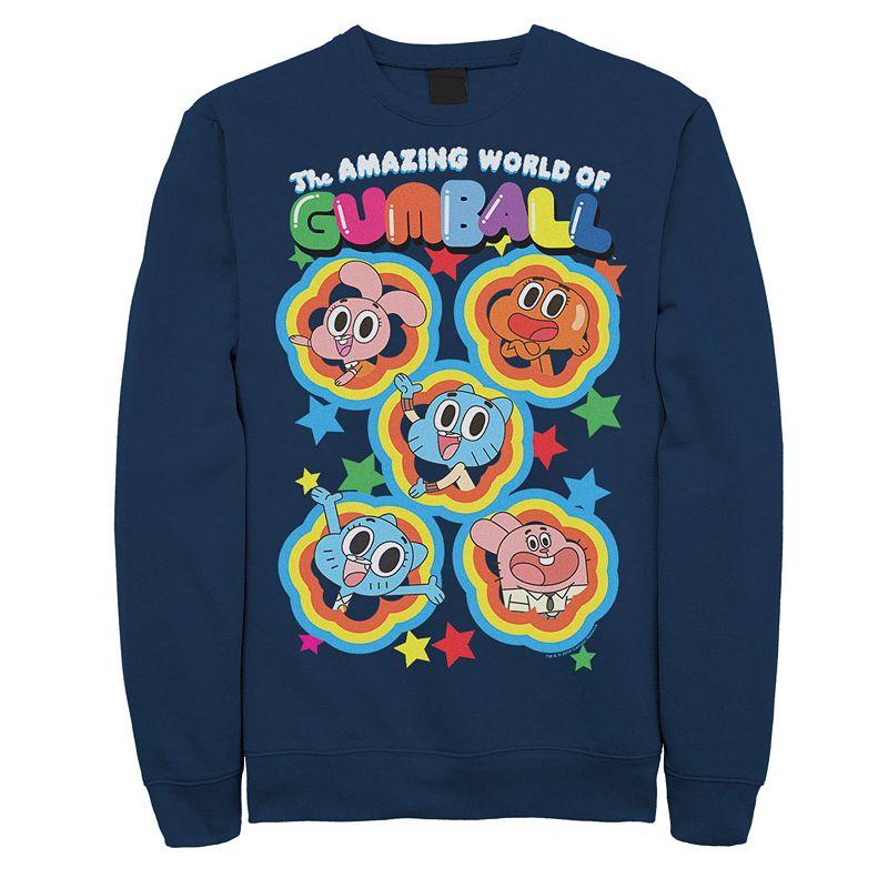 Men's Cartoon Network Gumball Five Stars Group Shot Colorful Sweatshirt, Size: XXL, Blue