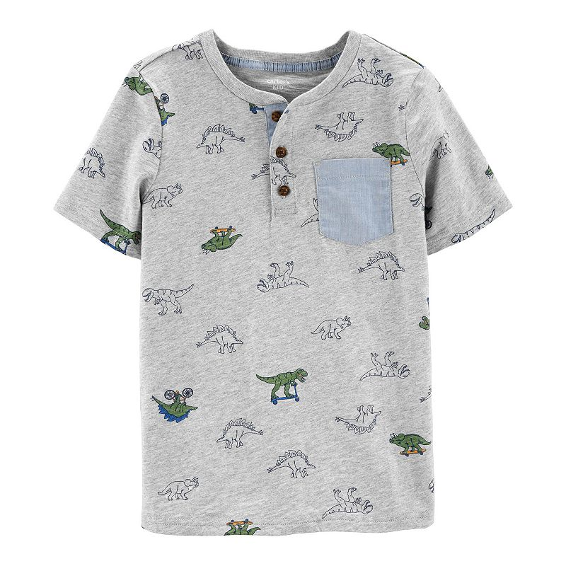 Boys 4-14 Carter's Tigers Pocket Henley Top, Boy's, Size: 12, Gray