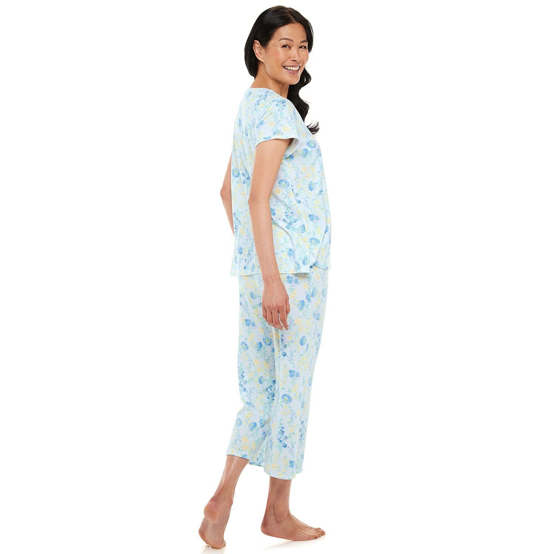 Women's Miss Elaine Essentials Soft Interlock Print Capri Pajama Set
