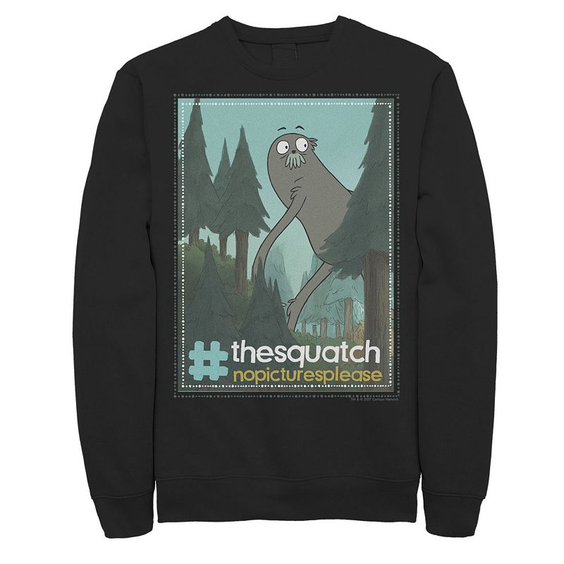 Men's Cartoon Network We Bare Bears Charlie The Squatch Hashtag Sweatshirt, Size: Small, Black