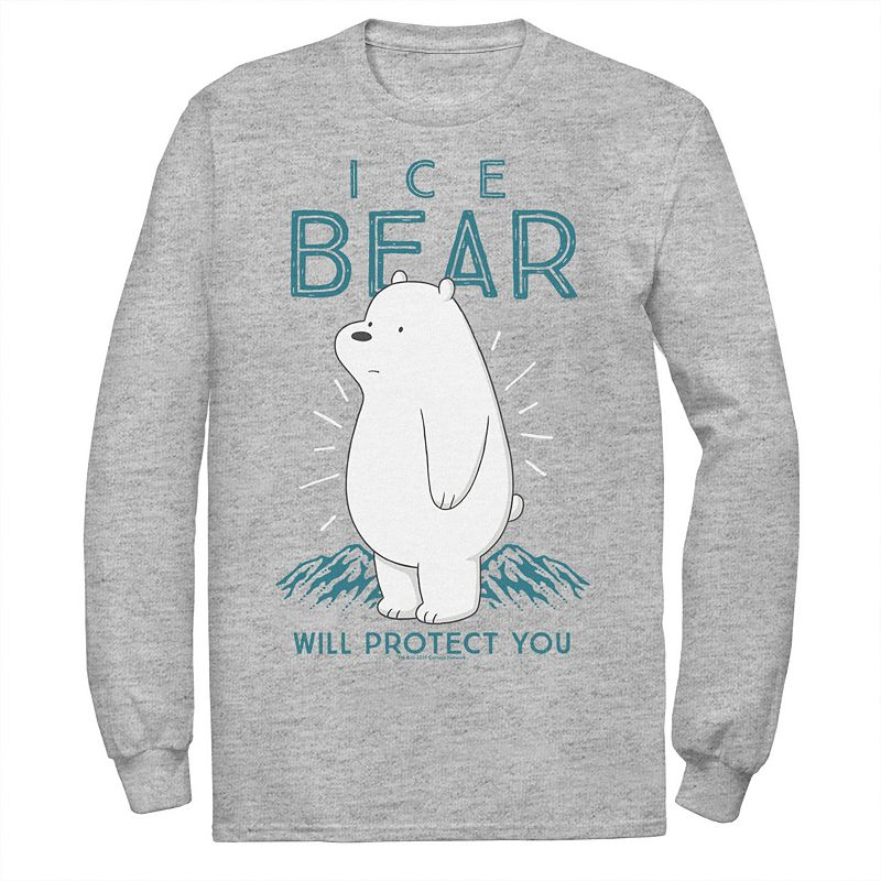 Men's Cartoon Network We Bare Bears Ice Bear Will Protect You Long Sleeve Tee, Size: XXL, Med Grey