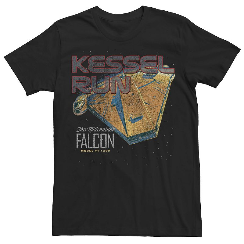 Men's Star Wars Millennium Falcon Kessel Run Poster Tee, Size: XL, Black