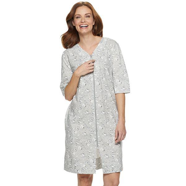 Women S Croft Barrow Zip Front Caftan Nightgown