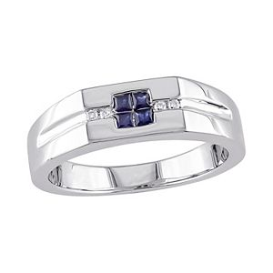 Men's Stella Grace Sterling Silver Diamond Accent & Sapphire Ring
