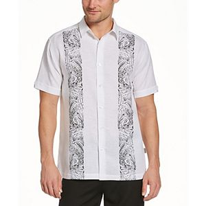 Men's Cubavera Flamingo Modern-Fit Linen-Blend Paneled Embroidered Button-Down Shirt